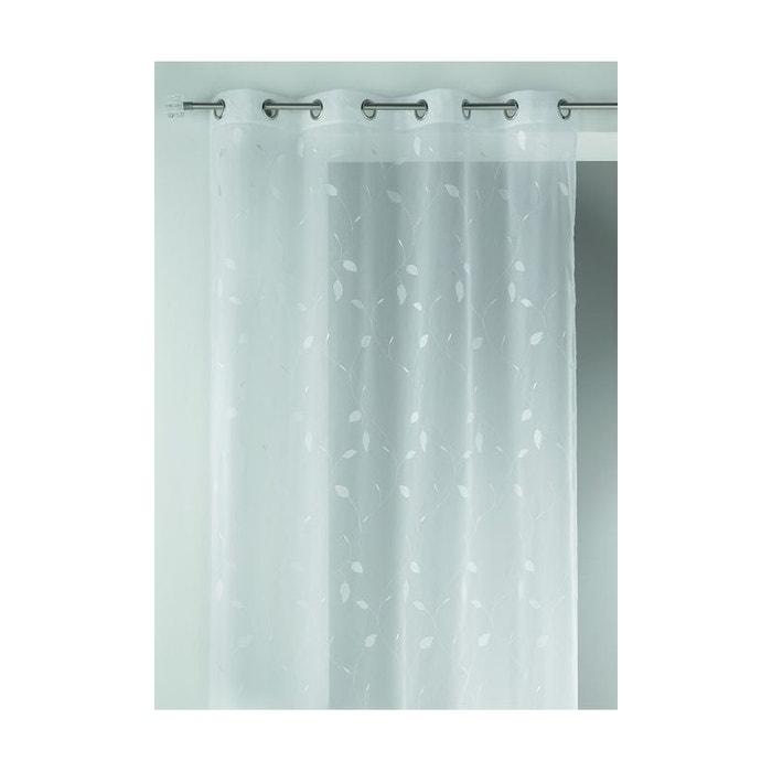 Voilage en etamine imprim s feuilles blanc home maison for Rideau 45x120