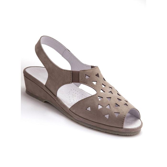 Sandales ultra souples, en cuir beige clair Pediconfort