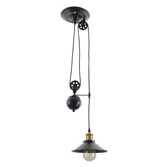 Suspension industrielle à poulie cottage noire en métal noir Keria ...