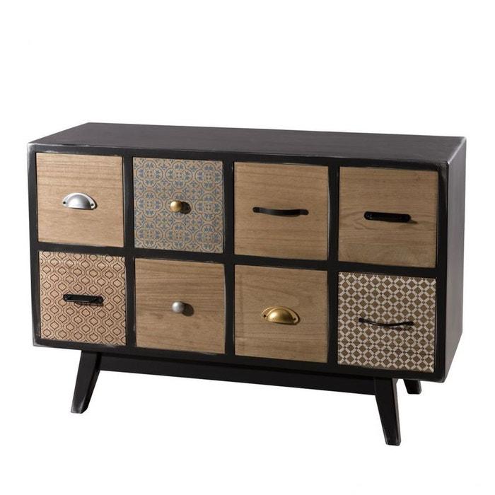commode chiffonnier en bois noir aspect vieilli 8 tiroirs d cor patchwork 93x35x64cm leonard. Black Bedroom Furniture Sets. Home Design Ideas