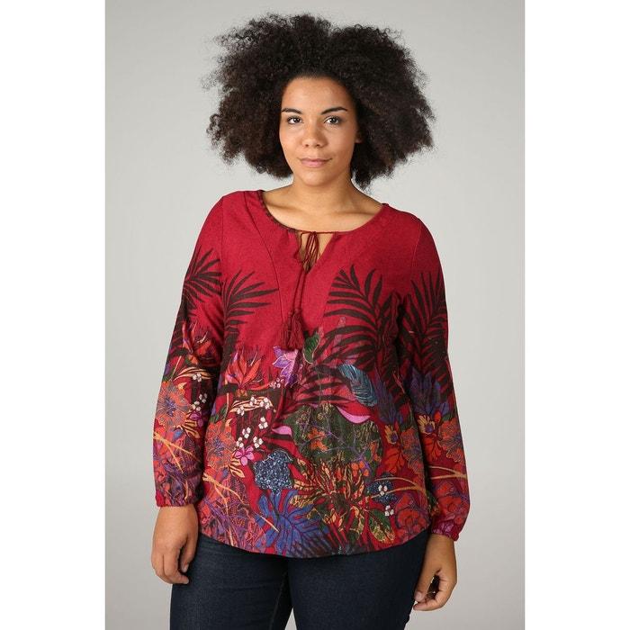 1e6f6edc08b Tunique t-shirt imprimé fleurs et feuilles rouge Paprika