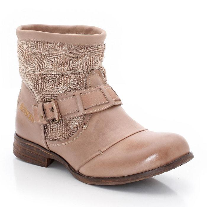 Boots en cuir et textile taupe Bunker