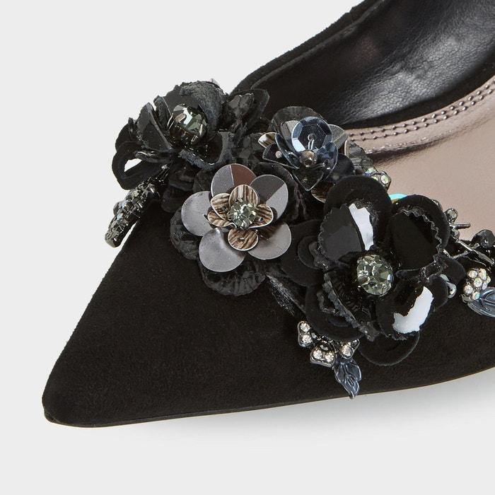 Escarpins à talon bobine ornés de fleurs à sequins - botanic noir daim Dune London