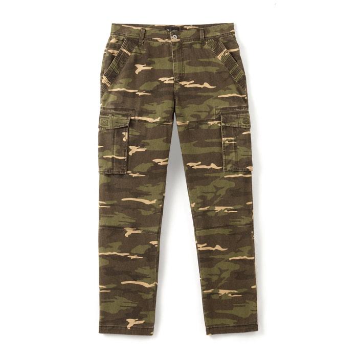 afbeelding Battle broek met camouflage print, recht model La Redoute Collections