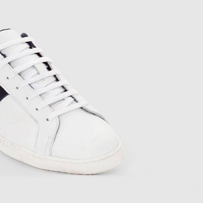 Baskets basses à lacets, cuir blanc La Redoute Collections