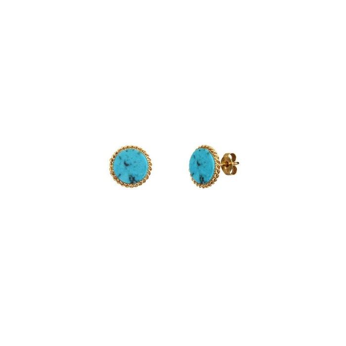 Boucles d'oreilles puces dorées new turquoise lady bleu Caroline Najman | La Redoute Magasin De Destockage Pour Le Moins Cher En Ligne Pas Cher Authentique JKubidb