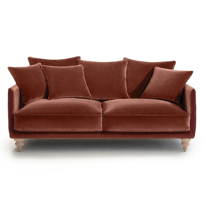 Canapé compact 3 pl conv. Lazare, velours pieds cl