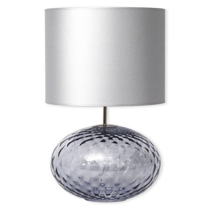 lampe en verre bleu ciel avec abat jour 60cm deborah. Black Bedroom Furniture Sets. Home Design Ideas