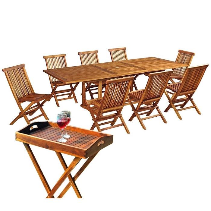 salon de jardin en teck huil pour 8 personnes avec desserte marron wood en stock la redoute. Black Bedroom Furniture Sets. Home Design Ideas