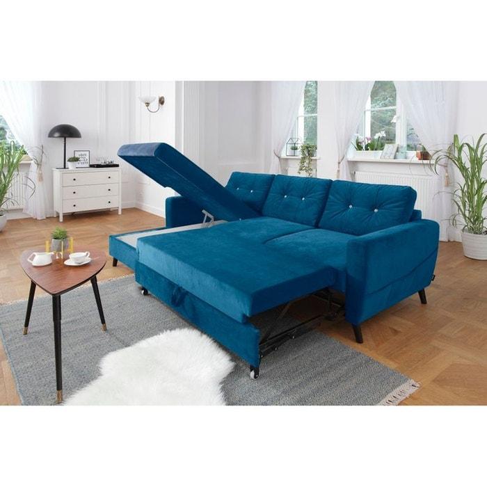 canap d 39 angle gauche scandi convertible coffre dition limit e bleu canard bleu bobochic la. Black Bedroom Furniture Sets. Home Design Ideas