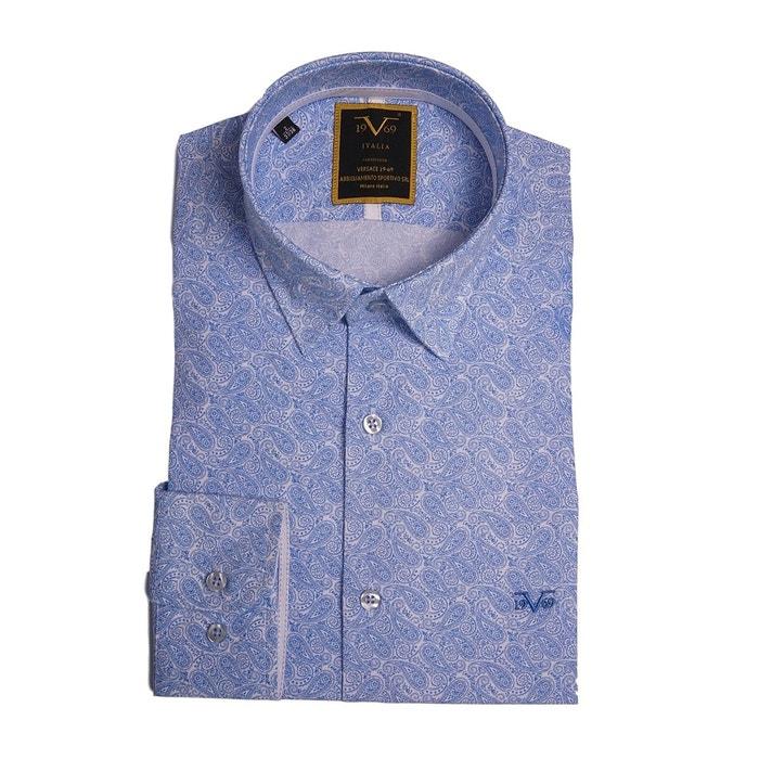 18be32394f7 Chemise homme blanche imprimé cashmere bleu ciel avec sa pochette cadeau  blanc Versace 19.69