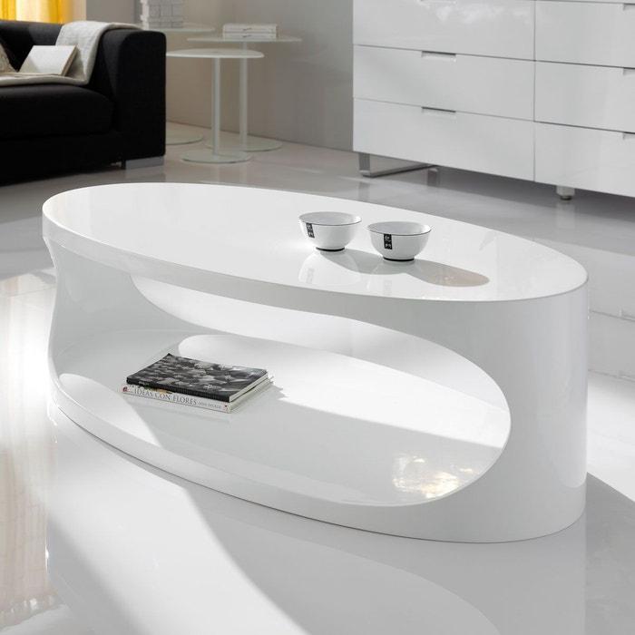 Table Basse Blanche Design.Table Basse Design Blanche Ellipse 120x65 Par Zendart Selection