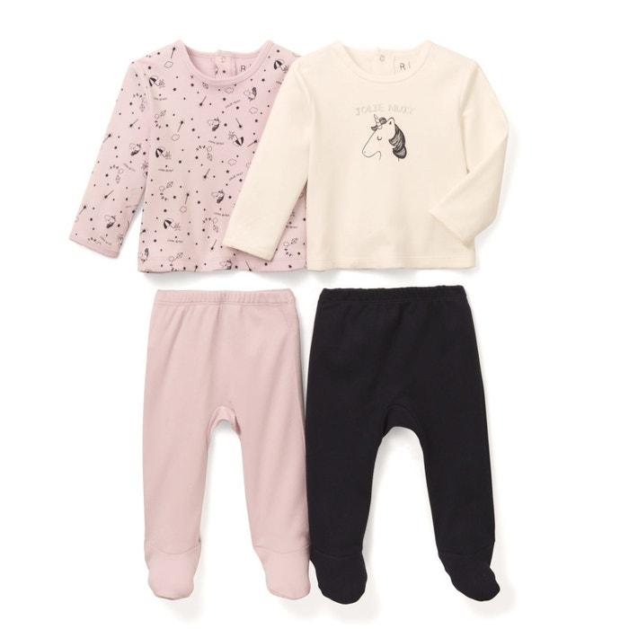 8f35bdf767128 Lot de 2 pyjamas 2 pièces coton 0 mois-3 ans bleu marine + écru + mauve La  Redoute Collections