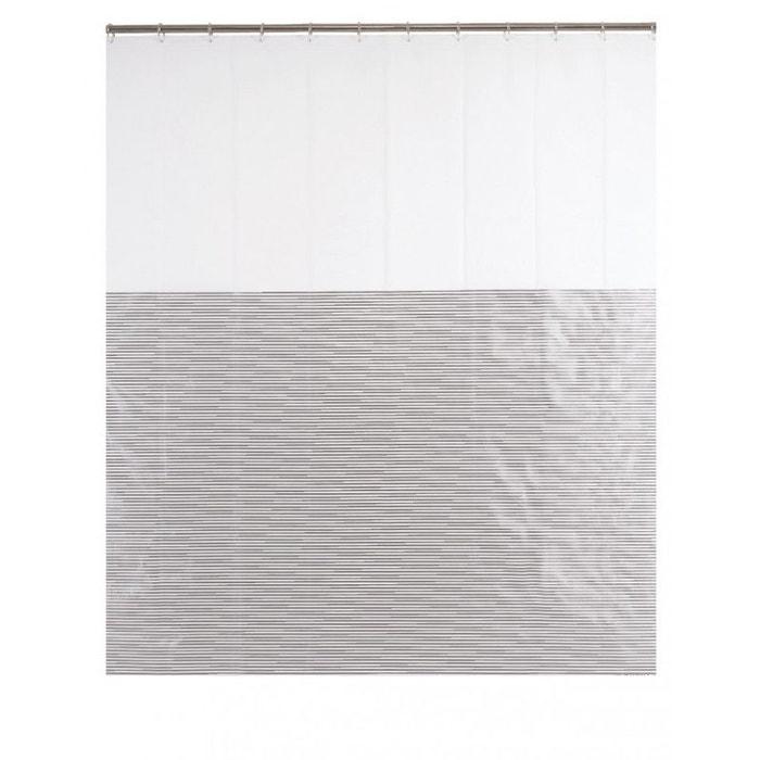 rideau de douche design ray gris et blanc 39 milleraies 39 180 x 200cm couleur unique wadiga la. Black Bedroom Furniture Sets. Home Design Ideas
