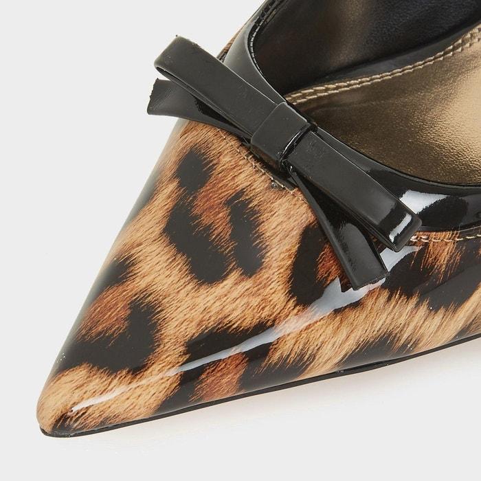 Escarpins à bout pointu et n-ud - animal léopard synthétique Dune London