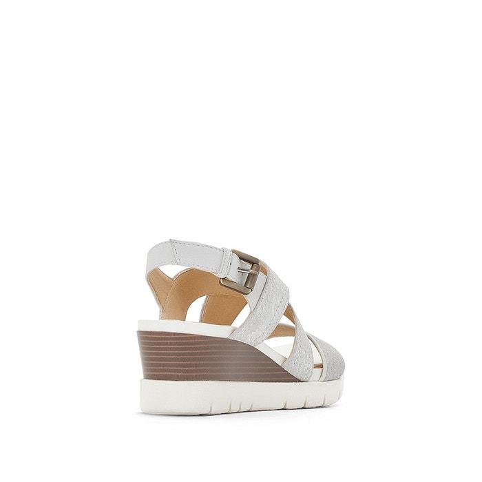 Sandales cuir compensées d marykarmen p.b blanc Geox