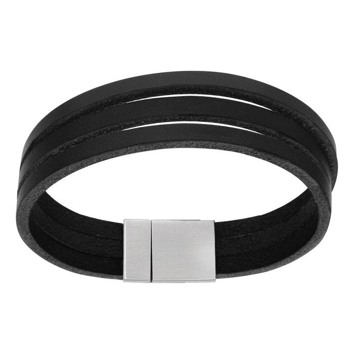 Bracelet homme 19,5 cm 3 lacets cuir noir fermoir aimanté acier inoxydable couleur unique So Chic Bijoux | La Redoute