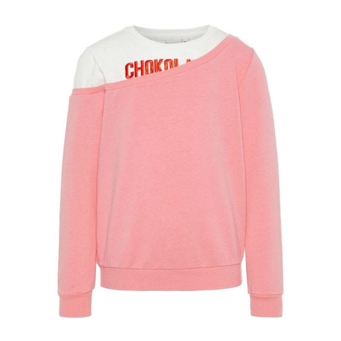 5c90143930f8 Sweat-shirt broderie rose geranium pink Name It