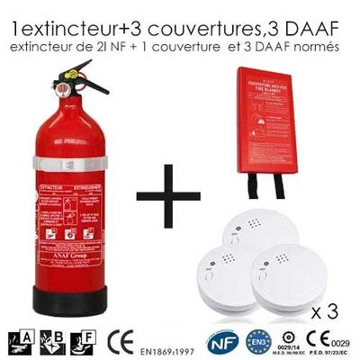 Extincteur 2l abf 1 couverture et 3 daaf couleur unique for Alarme maison securite good deal