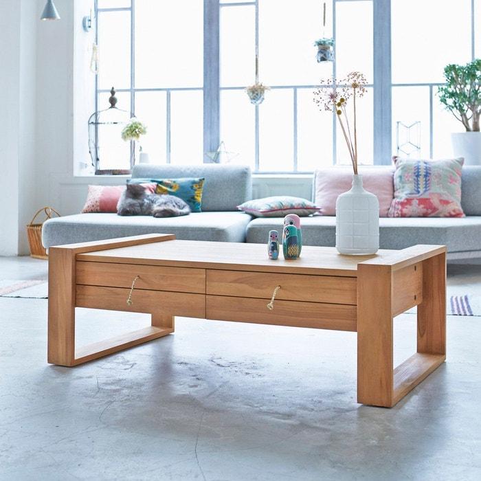 table basse en bois de teck 120x70 minimalys teck naturel tikamoon la redoute. Black Bedroom Furniture Sets. Home Design Ideas