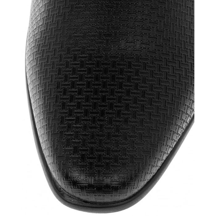 À lacets talon carré habillé chaussures noir Retro Fire