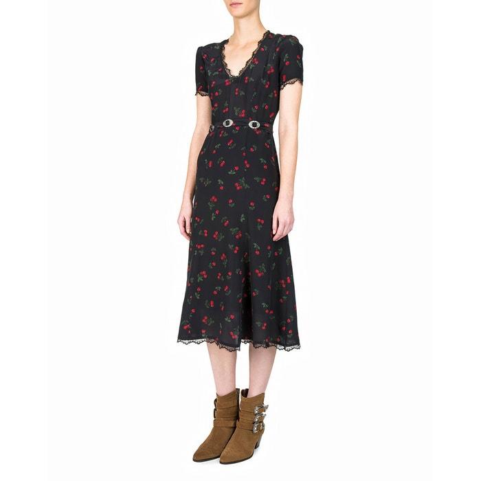 Short-Sleeved Printed Silk Dress with Belt  THE KOOPLES image 0
