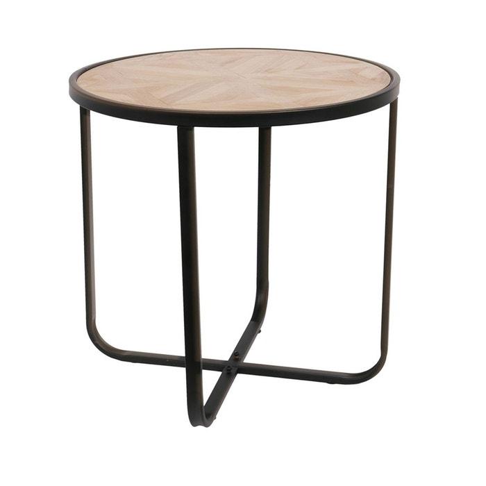 Table à Café En Bois Métal Industriel Diam 455 Cm Noir The Home