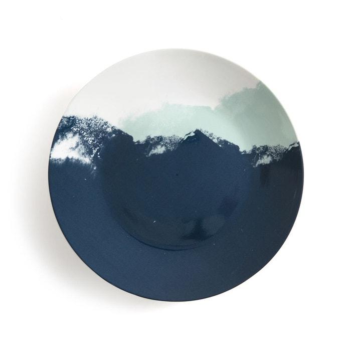 lot 4 assiettes plates ecume bleu imprim la redoute interieurs la redoute. Black Bedroom Furniture Sets. Home Design Ideas