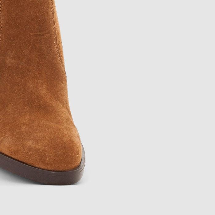 Boots cuir shane fringes marron Esprit