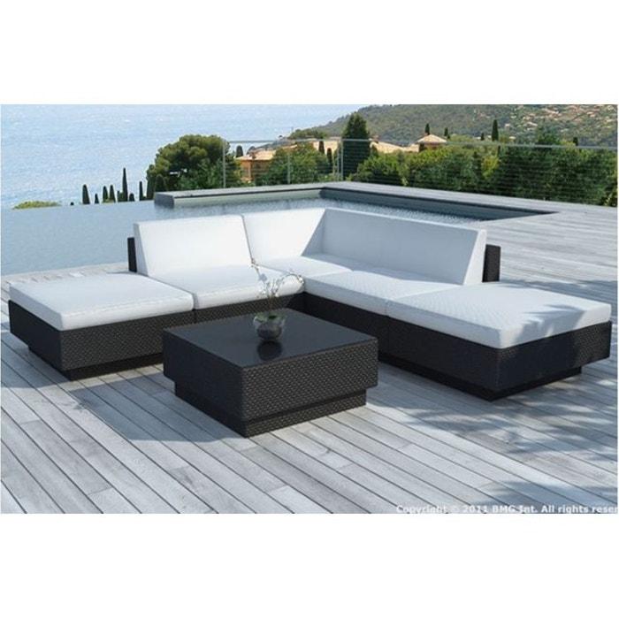 Canapé d\'angle + table de jardin noir et blanc écru en résine ...