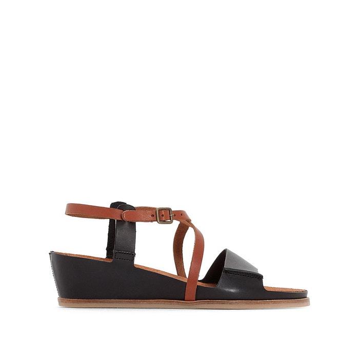 Sandales cuir compensées tahiti noir camel Kickers