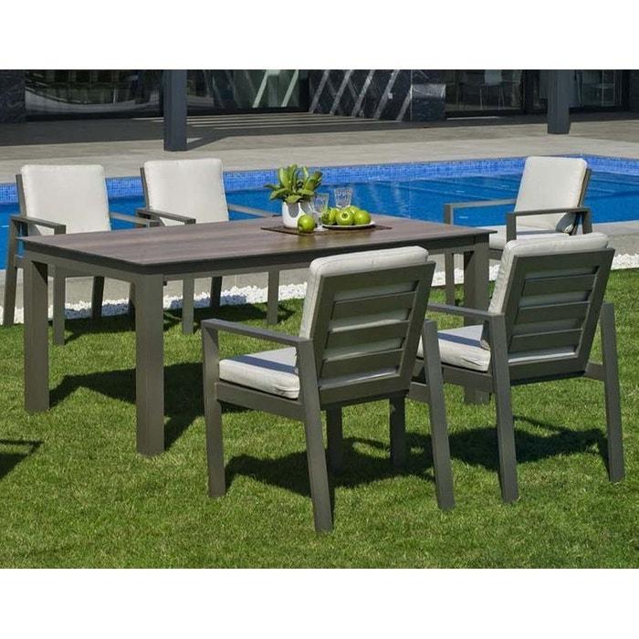 Salon de jardin MANHATTAN - 4 Chaises 4 Tabourets 1 Table en Résine Tressée  structure Aluminium Marron foncé
