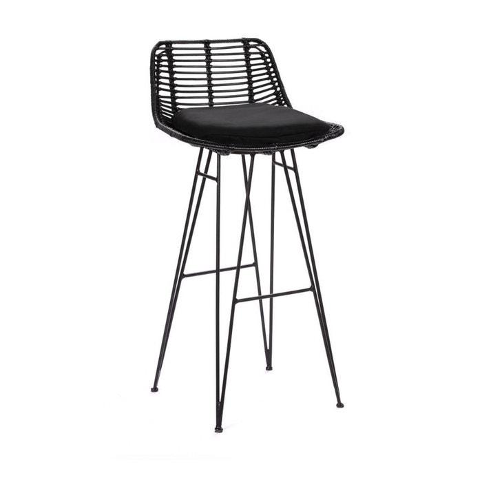 chaise de bar design en rotin 75cm capurgana noir drawer la redoute. Black Bedroom Furniture Sets. Home Design Ideas