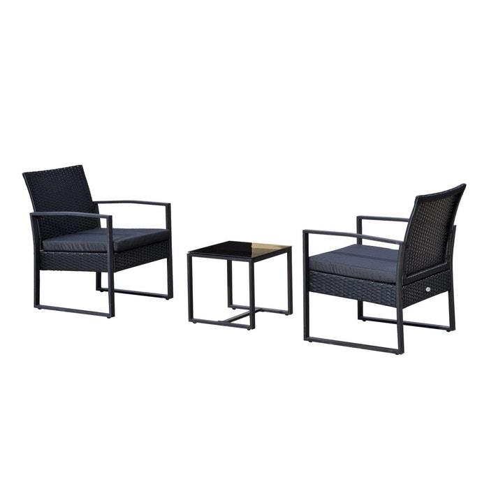 Salon de jardin 2 places avec table basse noir noir outsunny la redoute for Salon de jardin la redoute