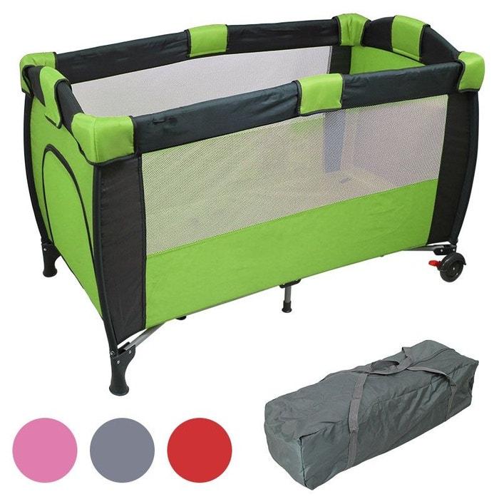 Lit parapluie b b 60 x 120 cm avec matelas vert vert monsieur bebe la redoute - Lit parapluie monsieur bebe ...