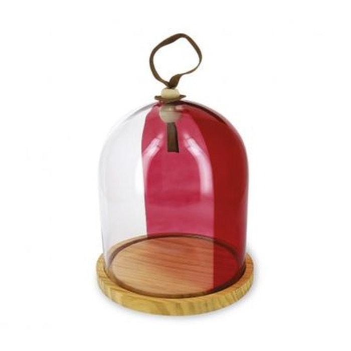 Cloche en verre et son socle bois h 24cm x diam - Cloche verre socle bois ...