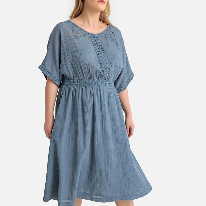14d8aead0fe Платье длинное прямое с вышивкой и вставками из кружева бирюзовый Castaluna