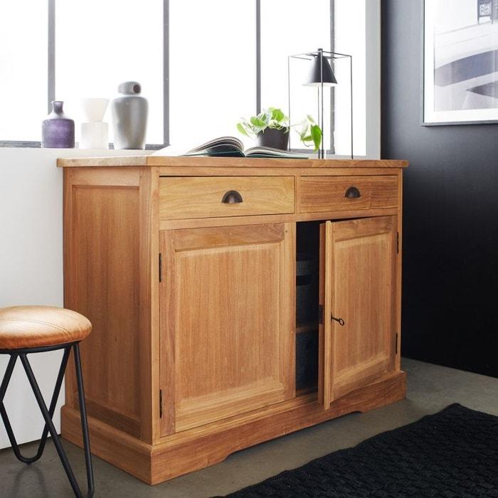 buffet en bois de teck 2 portes 2 tiroirs teck brut bois dessus bois dessous la redoute. Black Bedroom Furniture Sets. Home Design Ideas