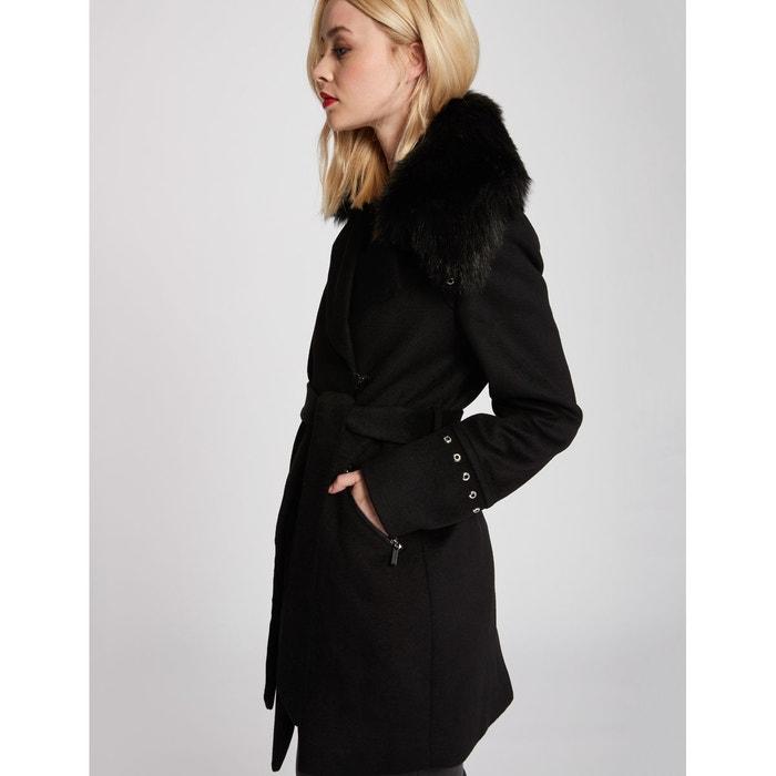 Manteau avec col en imitation fourrure noir Morgan   La Redoute 37aafb573c31