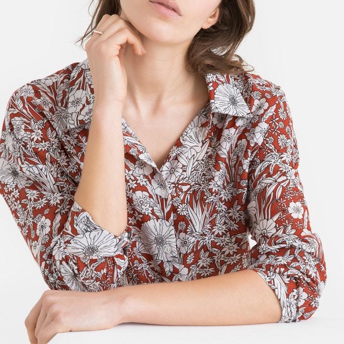 c36e2da4653 Блузка с цветочным рисунком и длинными рукавами рисунок фон каштан La  Redoute Collections