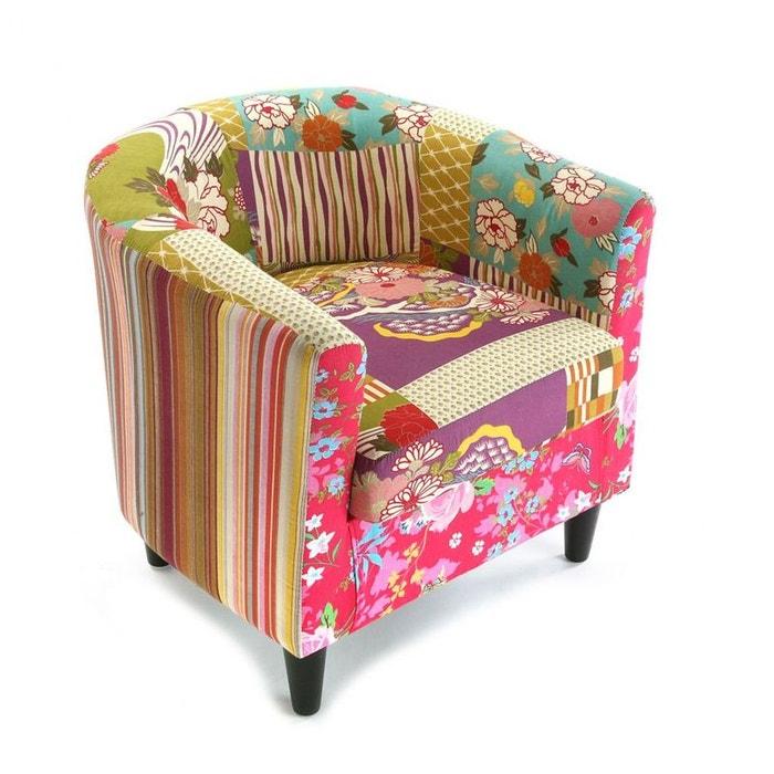 fauteuil cabriolet en tissu patchwork et pieds bois 64x62x56cm boheme multicolore pier import. Black Bedroom Furniture Sets. Home Design Ideas