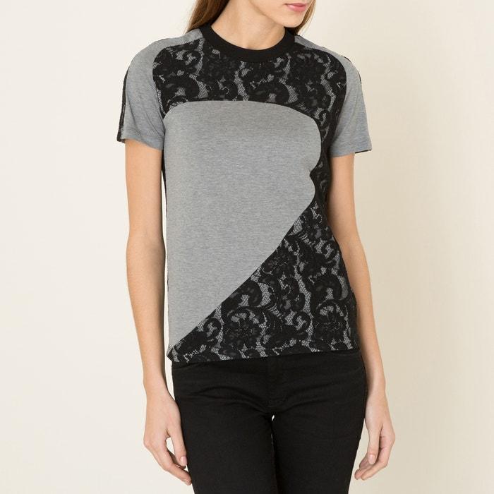 afbeelding T-shirt met inzetstukken in kant CARVEN
