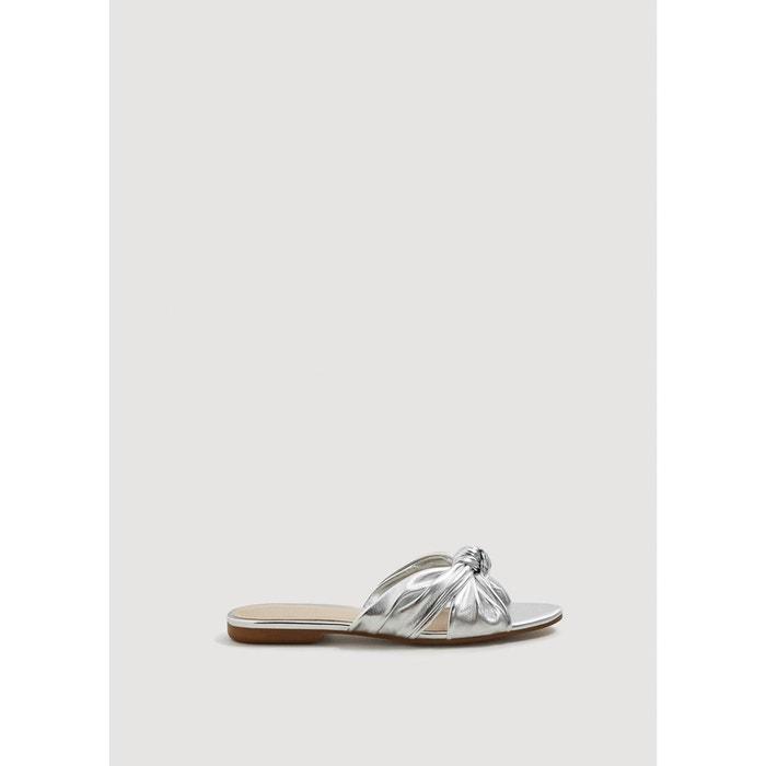 Sandale métallisée à noeud  argent Mango  La Redoute