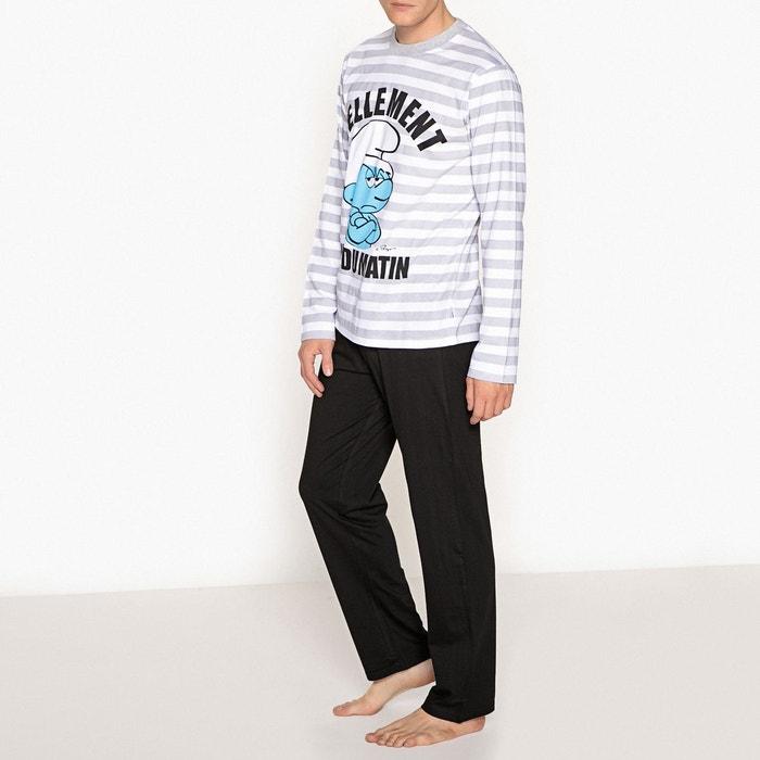 pyjama coton manches longues schtroumpfs noir ray schtroumpfs la redoute. Black Bedroom Furniture Sets. Home Design Ideas