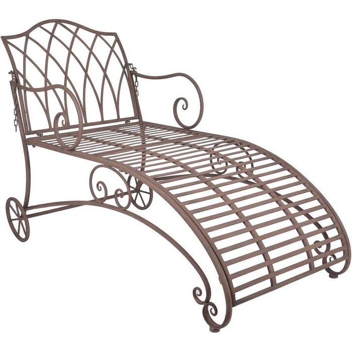 chaise longue en m tal brun esschert design la redoute. Black Bedroom Furniture Sets. Home Design Ideas