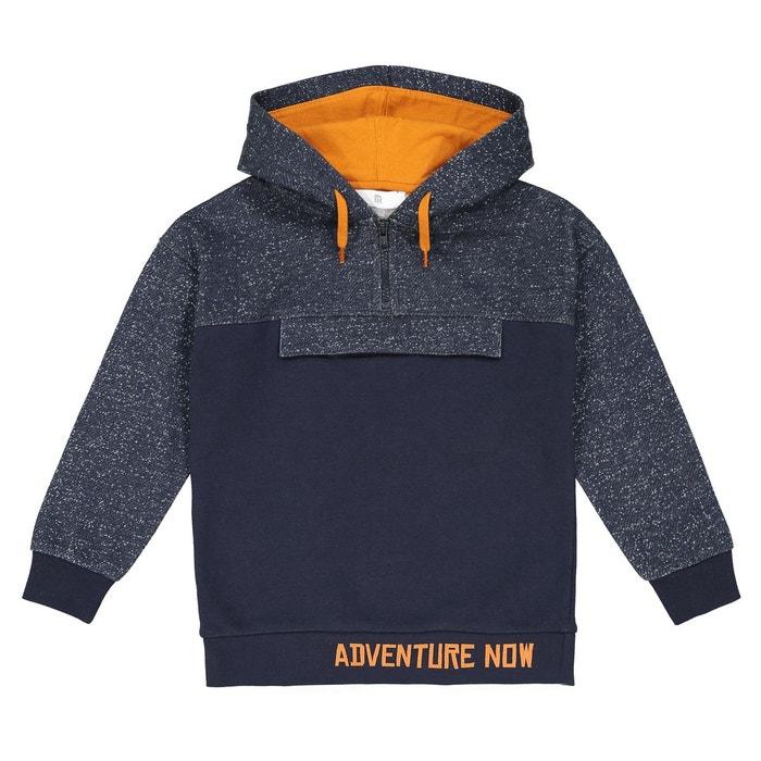 dc845c8c72384 Sweat à capuche bicolore 3-12 ans bleu + gris chiné La Redoute Collections  | La Redoute