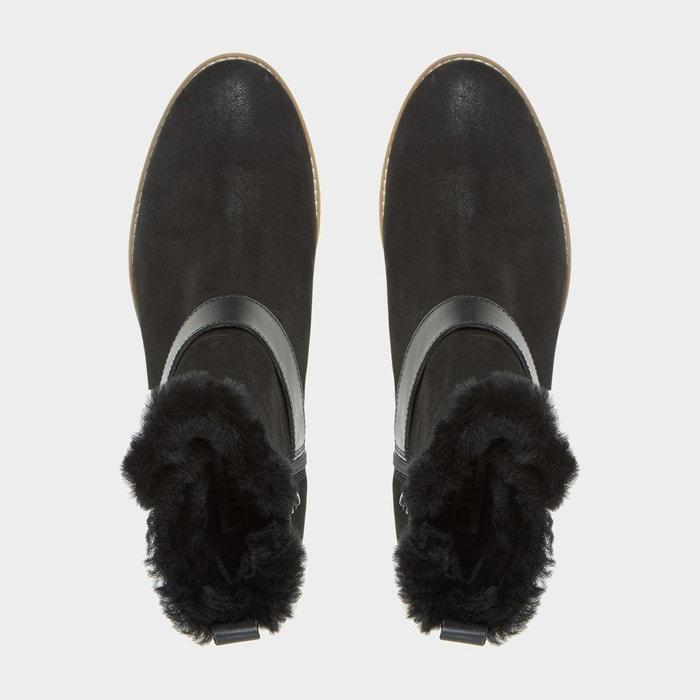 Bottines avec bordure en fausse fourrure et bride à boucle - persia noir nubuck Dune London
