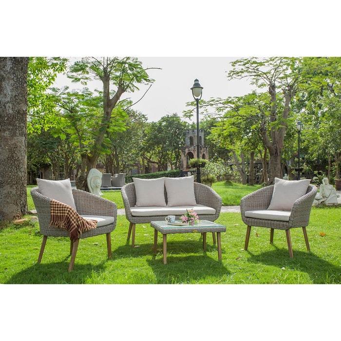 Salon de jardin bradford en résine tressée - rotin design gris ...