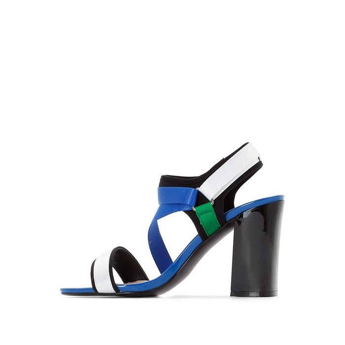 Sandales velcro bride asymétrique bleu multicolore La Redoute Collections