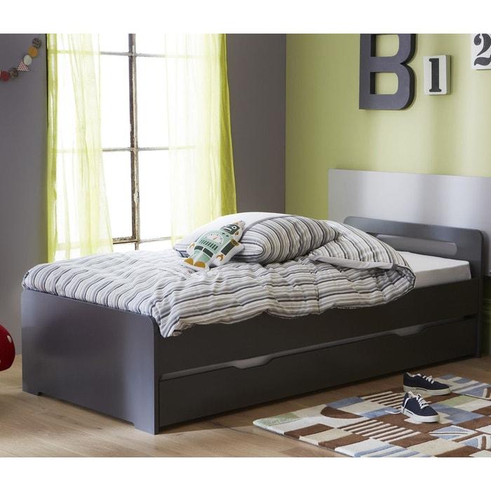 lit gigogne 200cm avec sommiers anthracite rose et. Black Bedroom Furniture Sets. Home Design Ideas